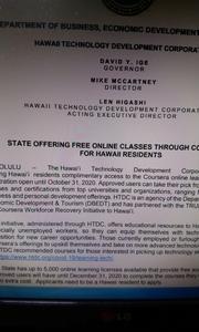 IGE州知事がハワイ住民に無料オンラインコースを!