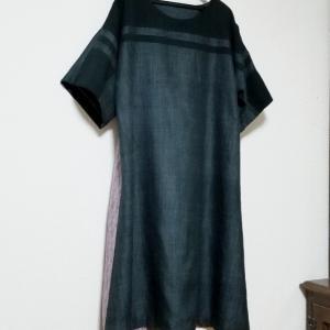 男物紬帯×縞柄紬のワンピース