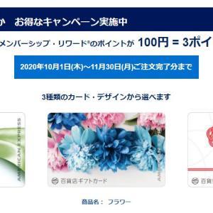 アメックス 百貨店ギフトカードの購入でポイント3倍のキャンペーンを実施中