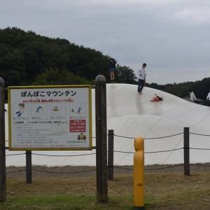 国営武蔵丘陵森林公園 ぽんぽこマウンテンで子供が楽しく跳ねています 11
