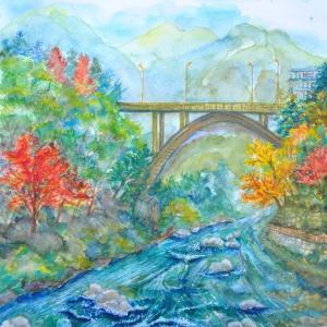 御岳渓谷の御岳橋を川原で描いた 絵 100
