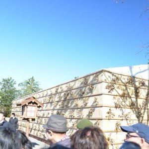 皇居東御苑の大嘗宮の正面右と正面鳥居が見えます 6