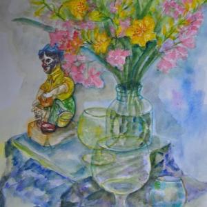 ピエロの人形と重なったグラス絵92