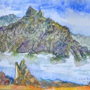 燕岳イルカ岩から槍ヶ岳の勇姿 絵 2-25