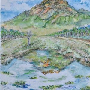 尾瀬ヶ原から燧ヶ岳の勇姿 絵 2-26