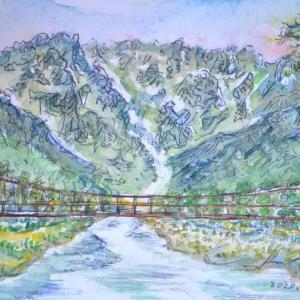 上高地の穂高連峰の景色 絵 2-28