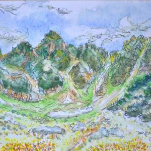 中央アルプス宝剣岳の景色 絵 2-29