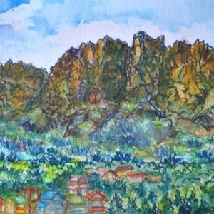妙義山の絶壁 絵 2-38