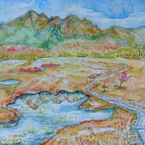 尾瀬ヶ原の木道と燧ヶ岳 絵 2-47