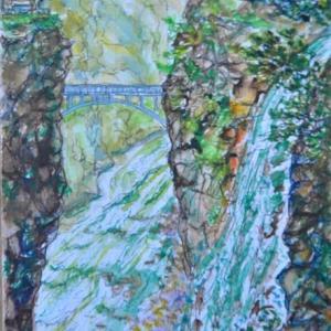 龍王峡の虹見の滝 絵 2-59
