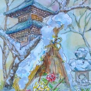 上野ボタン園に大雪が積もる 絵 2-80