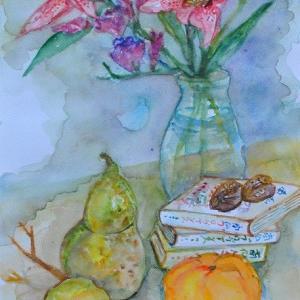 ユリと柿、洋ナシの絵 2-9