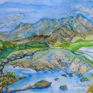 立山みどり池に映る立山連峰 絵 2-87