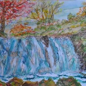 奥入瀬渓谷銚子の滝 絵 2-89