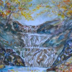 西沢渓谷七ツ釜五段の滝紅葉景色 絵 13