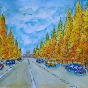 明治神宮 イチョウ並木の景色 絵 16