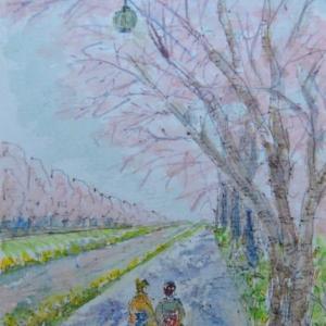 橋から花見歩きの人たち  絵   58
