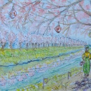 卒業生が記念の花見をする桜並木  絵   59