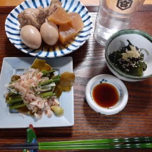 蕨の昆布〆と手羽元の煮物で晩酌