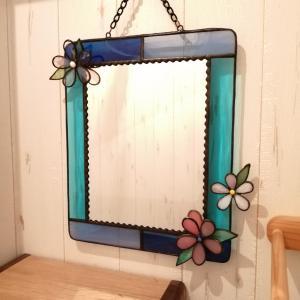 ステンドグラス体験 ブルーの鏡