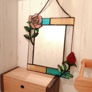 Y様の薔薇のステンドグラス鏡