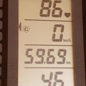 朝練95分、60kmが見えてきました