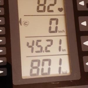 本日の朝練は70分で 801kcal のカロリー消費也