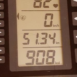 本日の朝練80分、908キロカロリー消費也