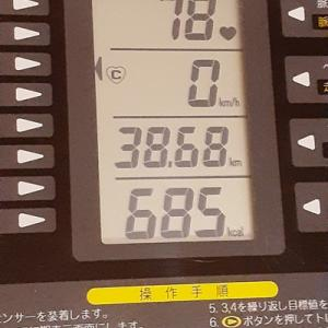 本日の朝練は60分、685キロカロリー消費