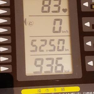 本日の朝練は80分、936kcal 消費なり