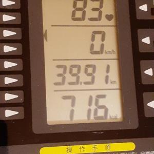 本日の朝練60分、あと8秒で40キロ達成だった