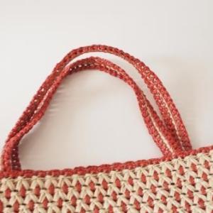 エコアンダリヤで編んだバッグの持ち手を交換しました。