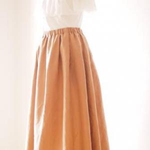 クルール『明日着る服』から「ミモレ丈スカート」をロング丈で作りました。