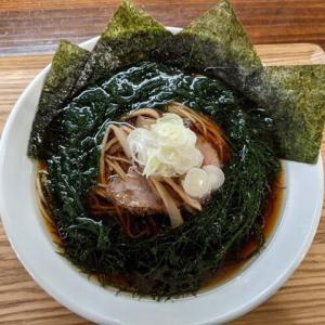 鶴亀さんで「にぼしそばの醤油+マツモ+海苔」(千歳市東雲町2:2021年9杯目)