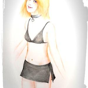 女装絵「ペーパークロスドレッサーあきみん」誕生から一年♥️