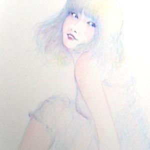「月夜花」  ひたすら淡く仄かに描いて(^^; 色鉛筆画♥️