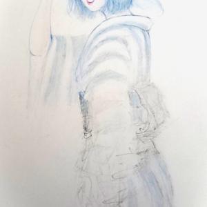 ちょっぴり風変わりな 浴衣姿(^^;   色鉛筆画