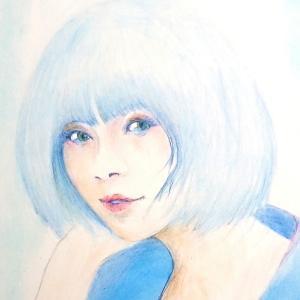 「 涙目  」   色鉛筆画