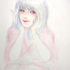 何気に描き初め  「紅き花  想いをいかで纏いし」   短歌(^^;