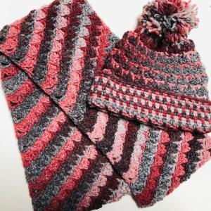 ☆ジャンナ5玉編みきりでスヌードとポンポン帽子☆