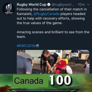 海外「カナダLV100」 台風で試合が中止になり復興の手伝いをするカナダラグビーチーム