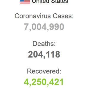 海外「アメリカの累計コロナ感染者が700万人を越える」