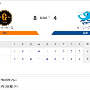 【試合結果】中日 4-8 巨人 清水4回自責0&木下無失点 石垣プロ初ホームラン