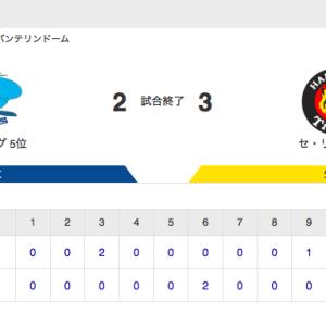 【試合結果】中日 2-3 阪神 京田2点タイムリー 柳6回2失点