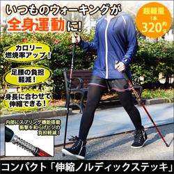 ●ノルディックウォーキングで足腰丈夫に「伸縮ノルディックステッキ」2本