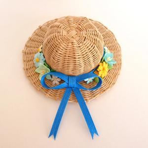 [476]  麦わら帽子の壁飾り・ブルーリボン