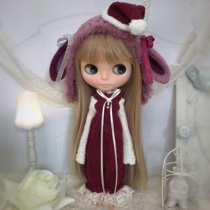 【出品情報】ネオブライス クリスマスのうさ耳帽子と長袖サロペのセット