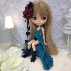 【出品情報】青の流線ドレスセット ブライス ニット 服