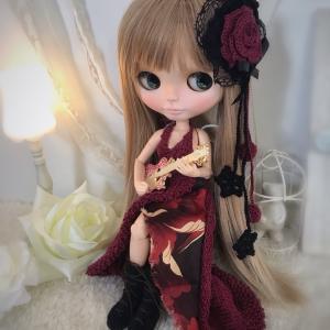【出品情報】ボルドーと和柄のロングドレス ネオブライス ニット 服