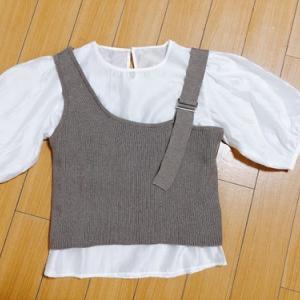 【154cm娘の服】INGNIで購入・ワンショルキャミ×ブラウス・ロゴT・私用チュニックブラウス